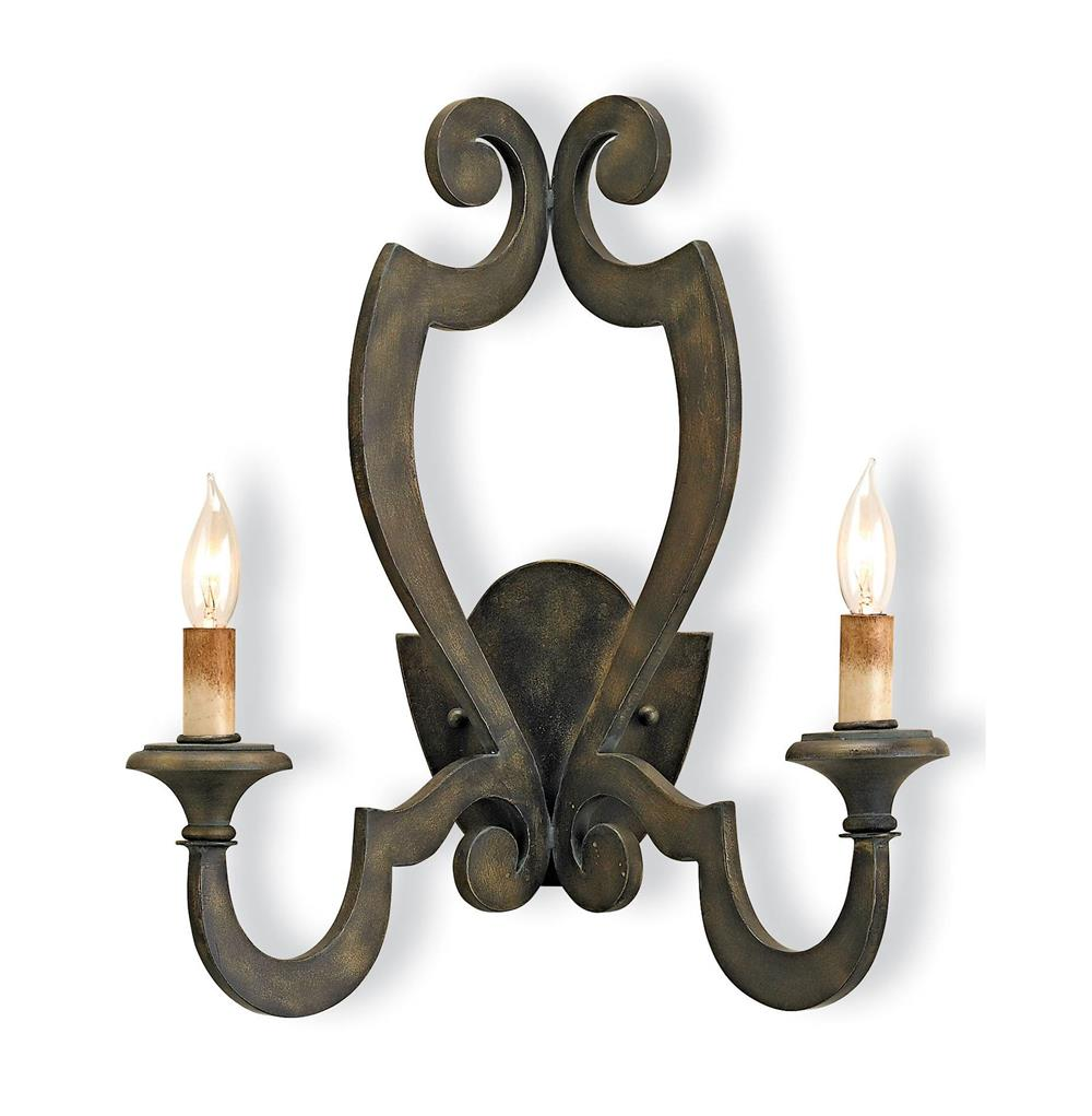 Renaud Rustic Wrought Iron Scroll 2 Light Wall Sconce Kathy Kuo Home