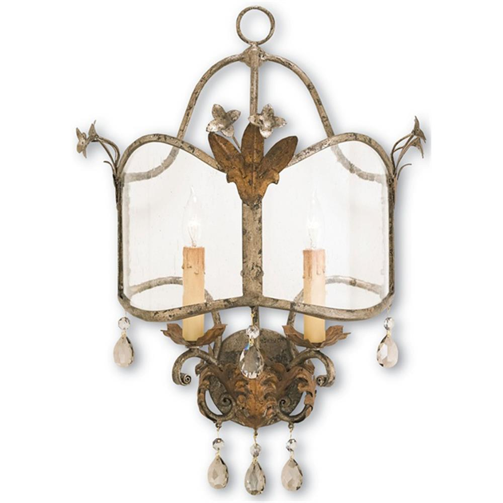 Spanish revival antique gold silver decorative wall sconce kathy kuo home - Decorative wall sconce ...