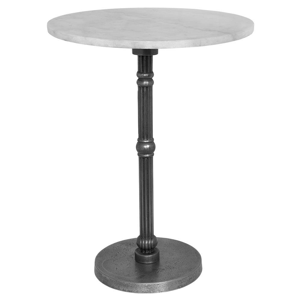 Sebastian Modern Classic Round White Quartz Gold Cast Iron Side End Table