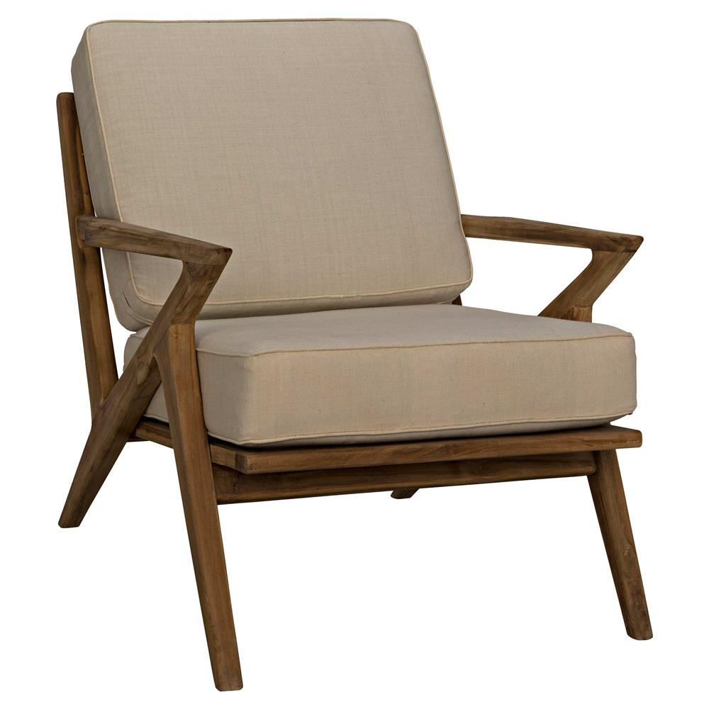 Maddox Mid Century Modern Beige Canvas Brown Teak Living Room Chair Kathy Kuo Home
