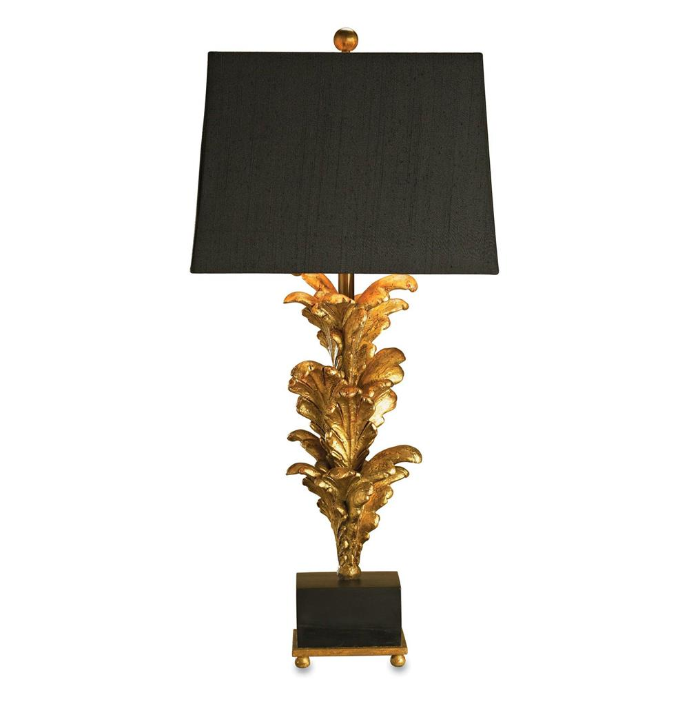 Renaissance Black Gold Leaf Acanthus Leaf Large Table Lamp