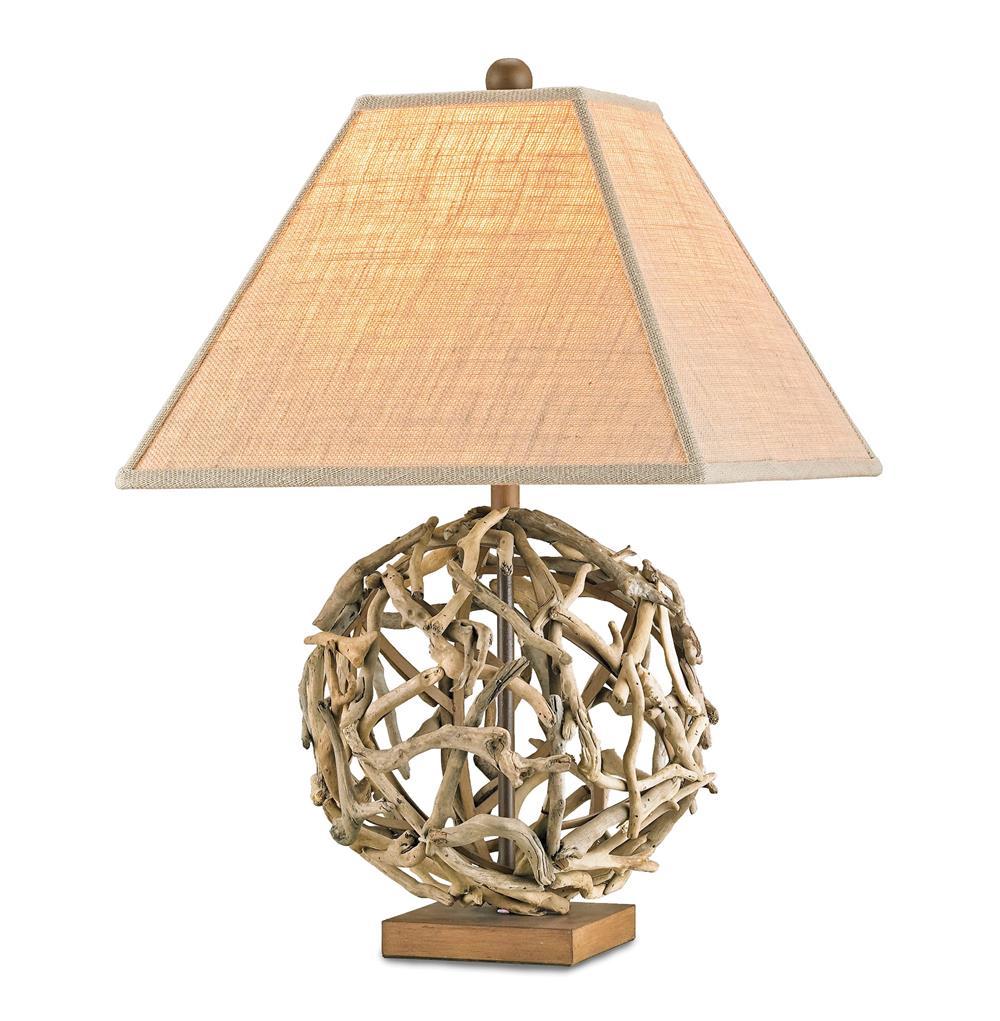 Driftwood Sphere Rustic Beach Style Modern Table Lamp
