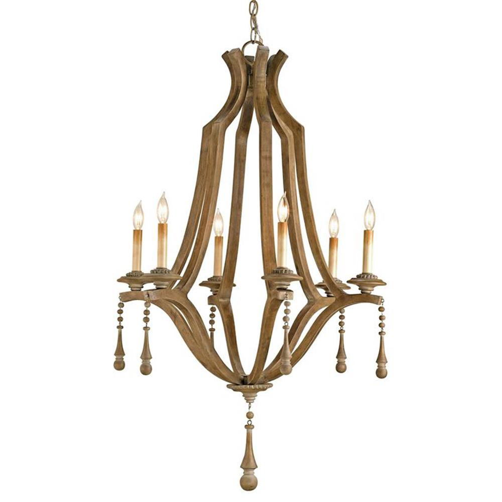 French Country Washed Bent Wood 6 Light Chandelier Kathy