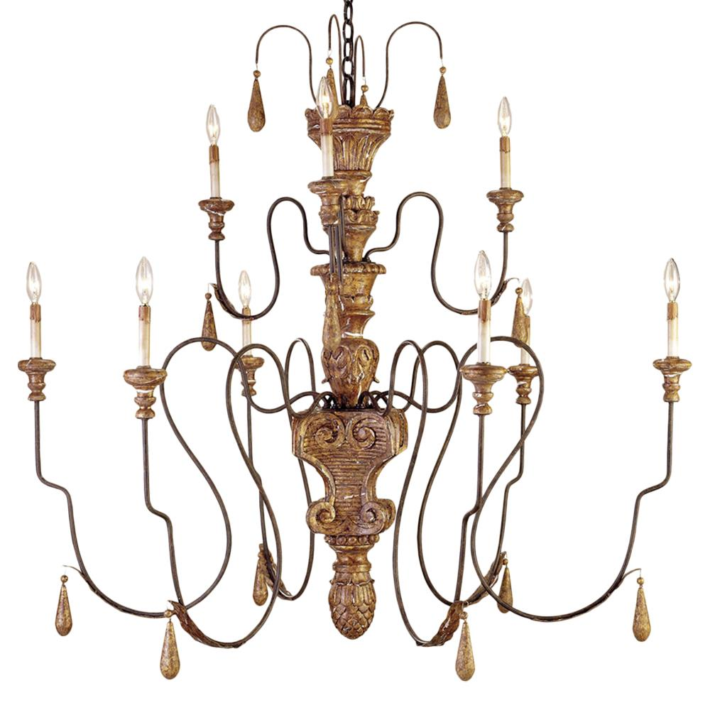 Manor French Country Aged Gold 9 Light 2 Tier Chandelier