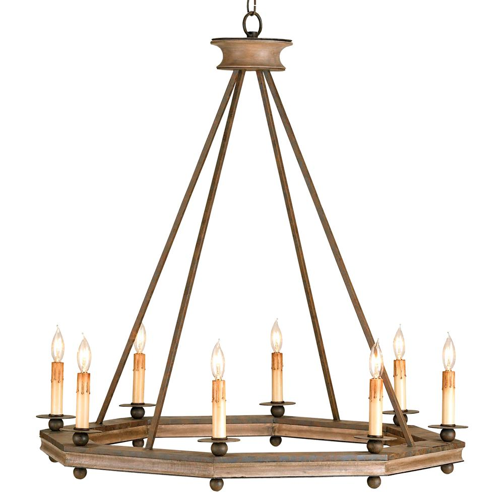 Bonfire simple open octagonal ring rustic 8 light for Round rustic chandeliers