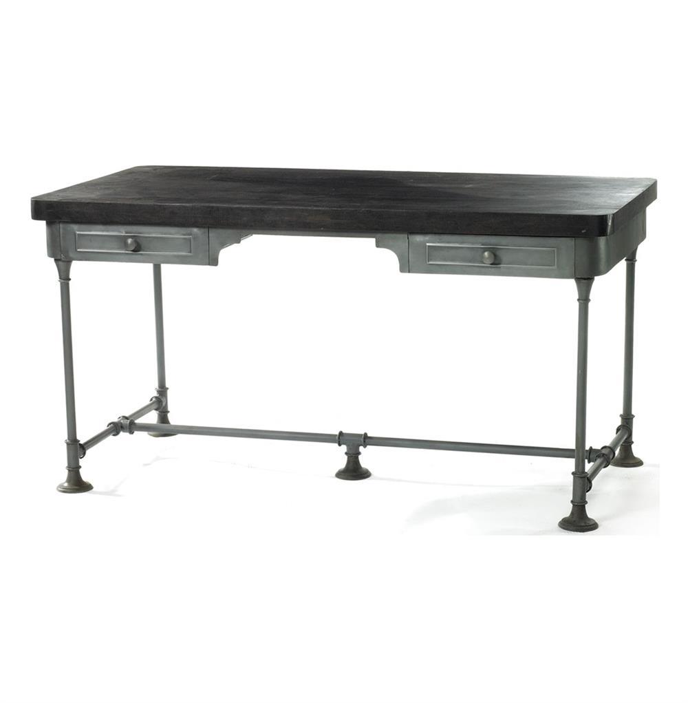cranston vintage steel pipe pewter black work desk kathy. Black Bedroom Furniture Sets. Home Design Ideas
