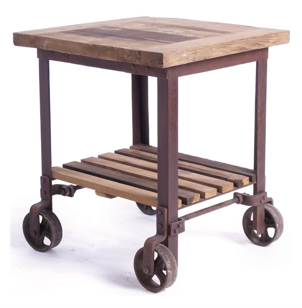 Sudbury Reclaimed Wood Industrial Cart End Side Table