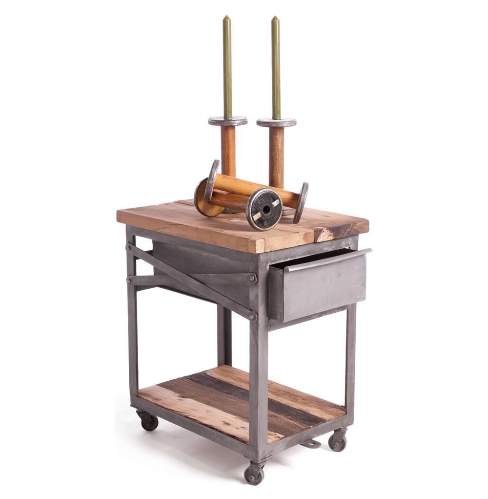 Reclaimed wood metal industrial loft bedside table kathy for Wood and metal bedside table