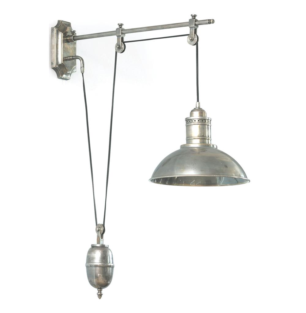 Vintage Pulley Pewter Nickel Wall Sconce Kathy Kuo Home