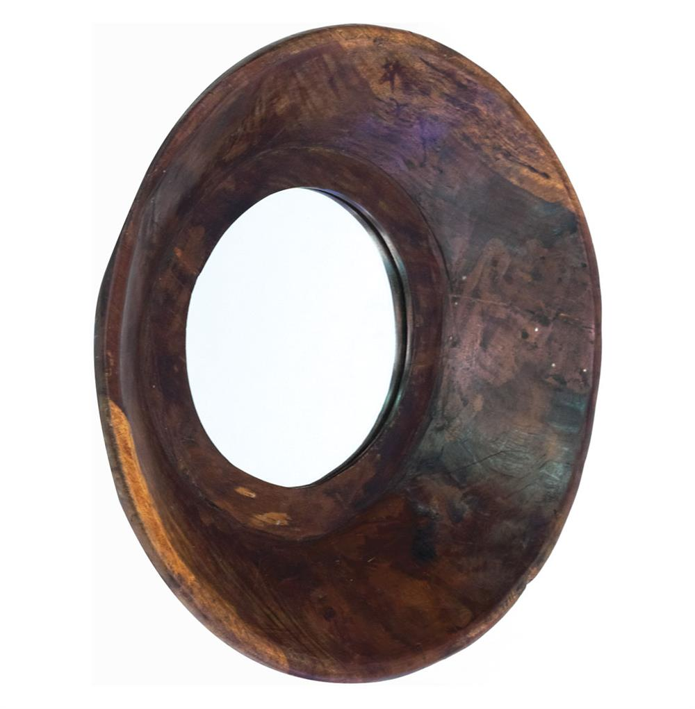 Vintage modern rustic chunky wood bowl round mirror 16 d for Round wood mirror