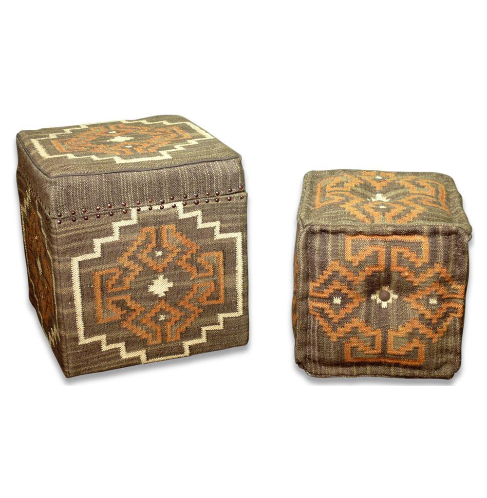 Lyons Bend Rustic Brown & Orange Kilim Storage Ottoman with Stool | Kathy  Kuo Home - Lyons Bend Rustic Brown & Orange Kilim Storage Ottoman With Stool
