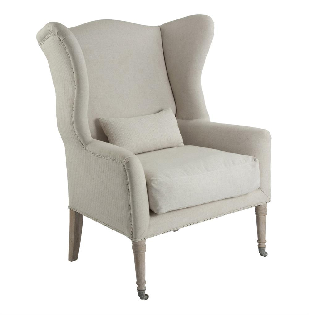 Lisbon French Country Light Linen Occasional Arm Chair Kathy Kuo Home