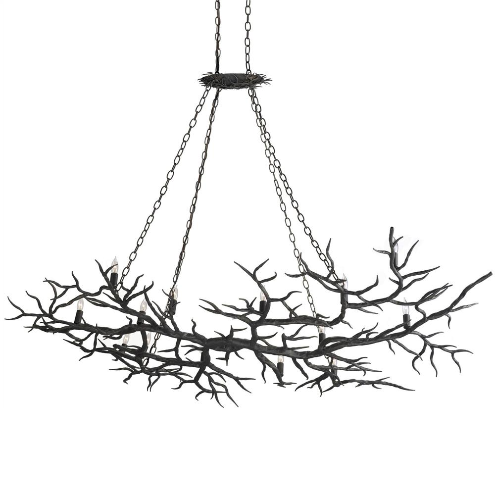 boca dramatic branch wrought iron 14 light island chandelier