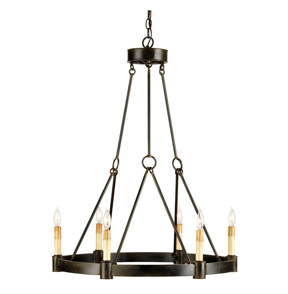Charmont French Country Black Wrought Iron 6 Light