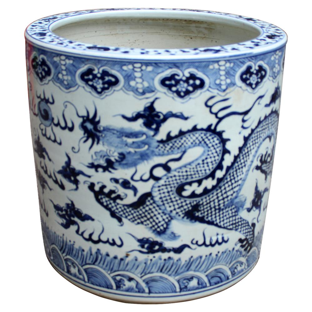 Aura Modern Clic Blue And White Porcelain Cloud Dragon Cylinder Planter Kathy Kuo Home