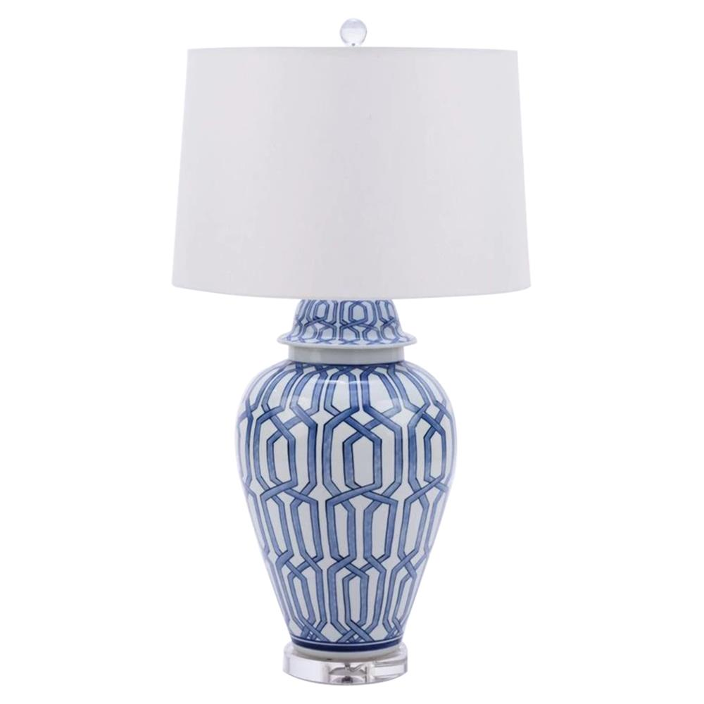 Cabot Modern Classic Blue And White Cross Diamond Porcelain Table Lamp |  Kathy Kuo Home