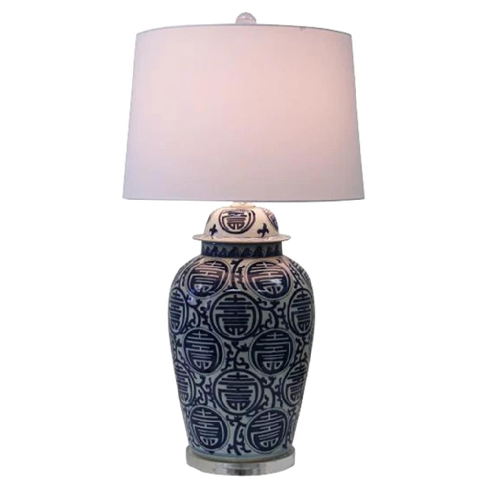 Caedmon Modern Clic Blue And White Longevity Porcelain Table Lamp Kathy Kuo Home