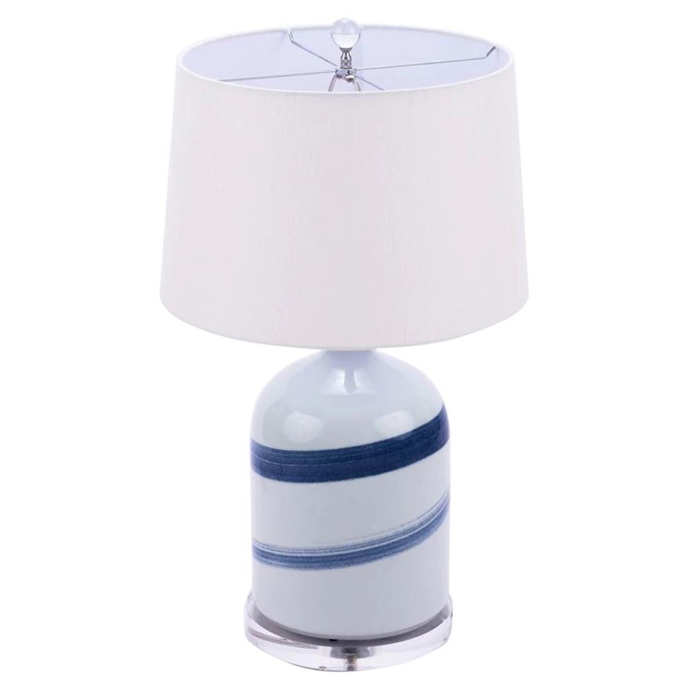 Brogan Modern Classic Blue And White Brushstroke Spin Porcelain Table Lamp  | Kathy Kuo Home
