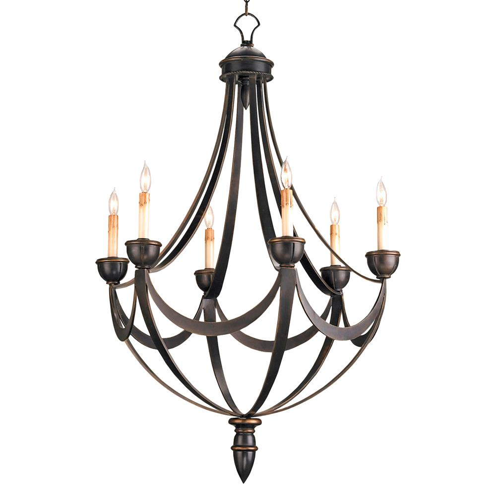 Black Wrought Iron Regency 6 Light Bronze Gold Chandelier
