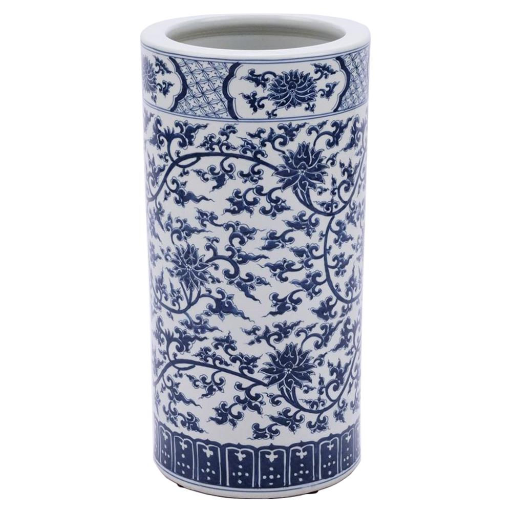Umbrella Stand Blue And White: Ed Modern Classic Blue And White Twisted Lotus Porcelain