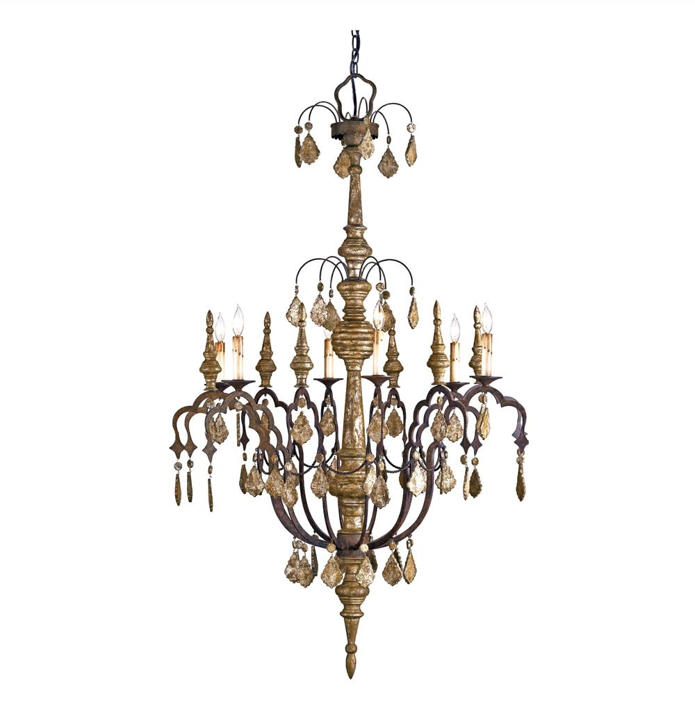 Dover Distressed Silver Leaf 6 Light Wrought Iron Wood