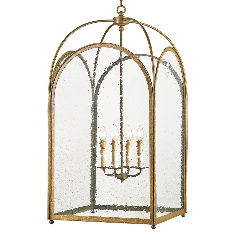 Glass Iron Arched Hanging Lantern 4 Light Lantern Pendant