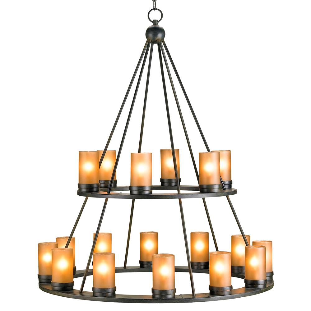 Black Wrought Iron Rustic Lodge Tiered 18 Light Candle Chandelier Kathy Kuo