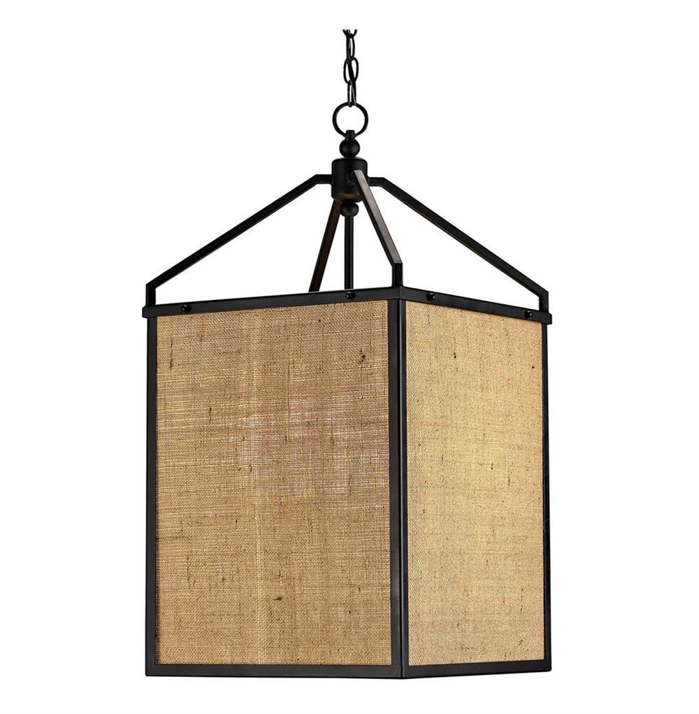 Walford rustic modern burlap box shade lantern pendant lamp for Burlap lights