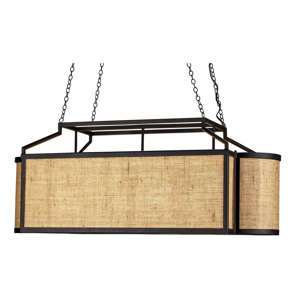 Rustic modern burlap long rectangle island pendant kathy kuo home