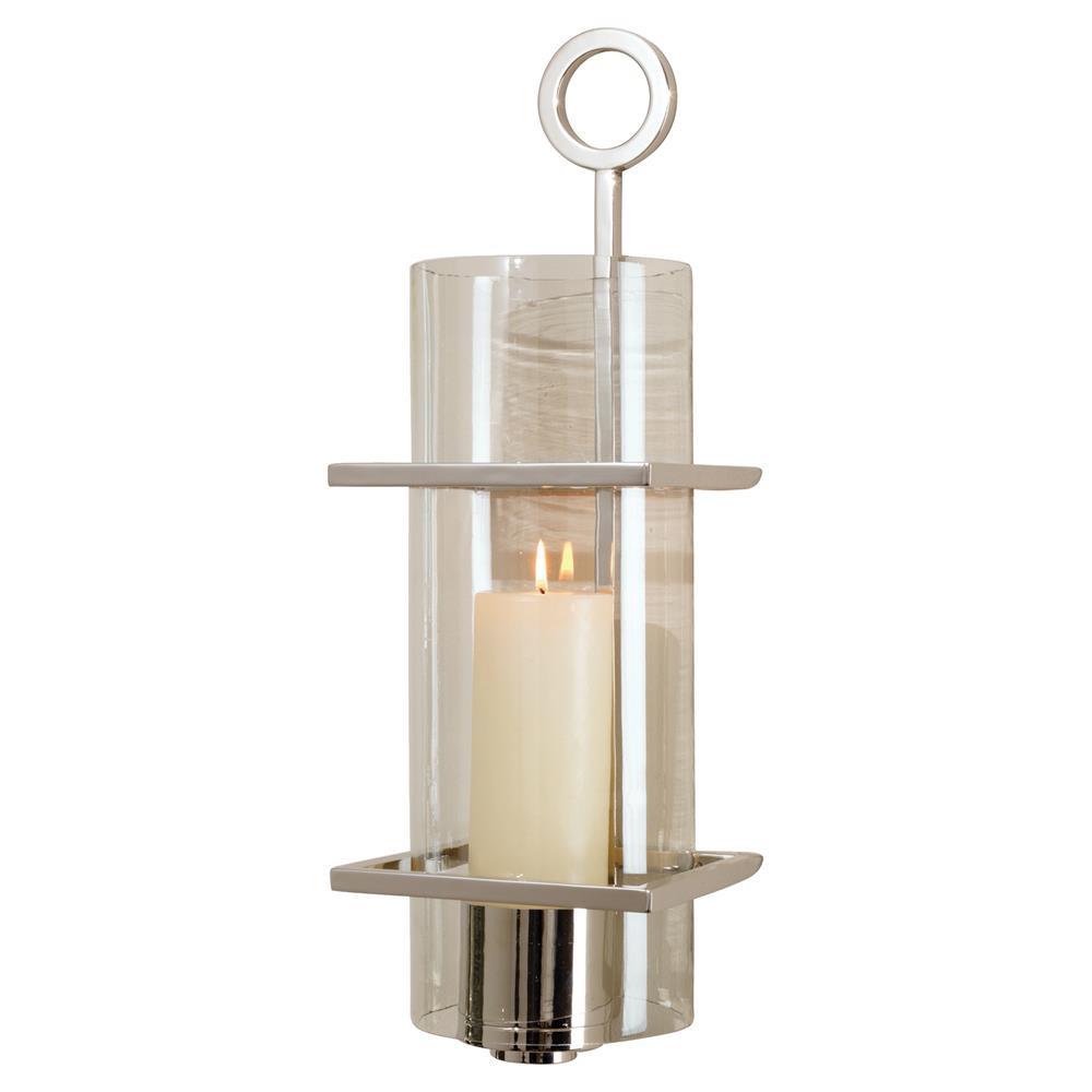 Davisito Modern Silver Metal Clear Cylindrical Glass ...