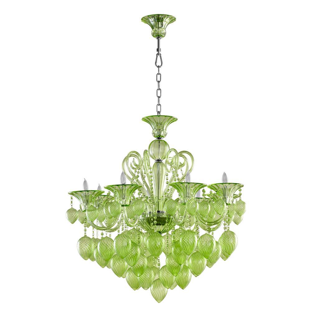 Bella Vetro 8 Light Pale Green Murano Glass Chandelier ...