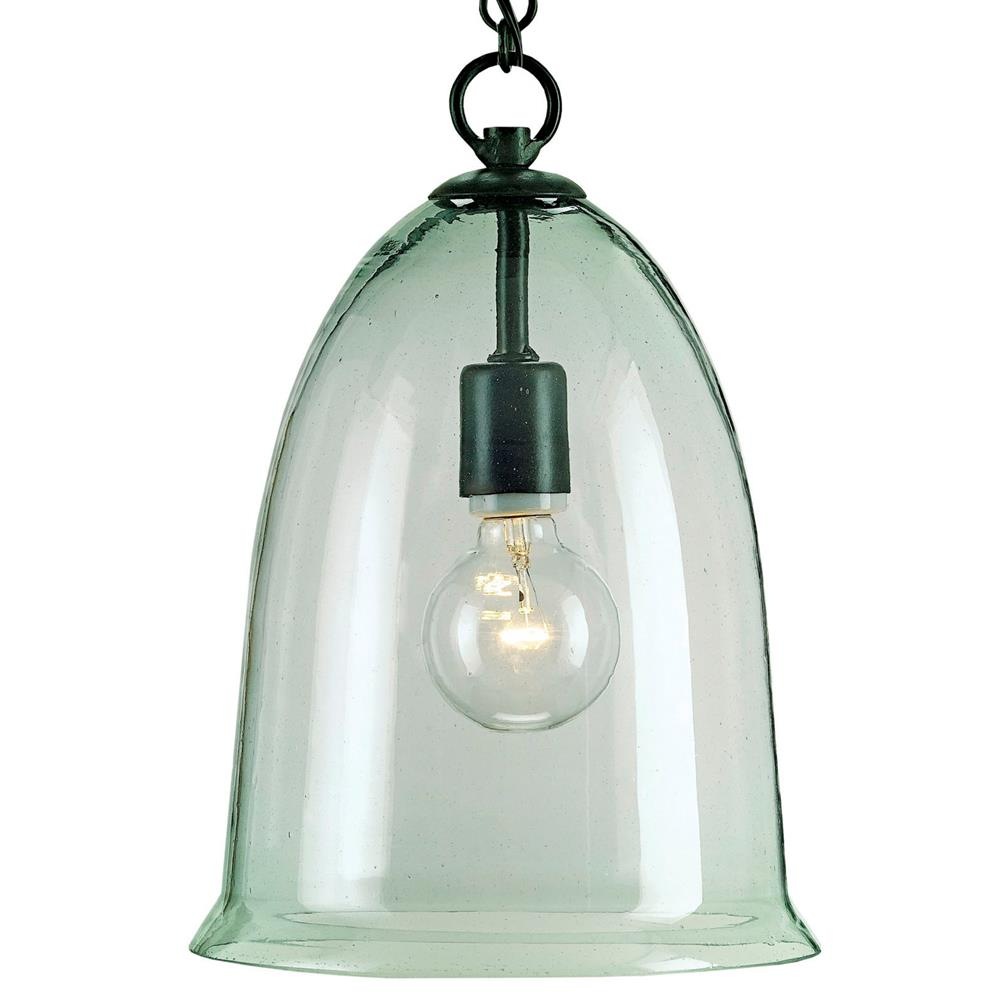 Industrial Bell Pendant Light: Hector Recycled Glass Industrial Rustic Bell Pendant Lamp