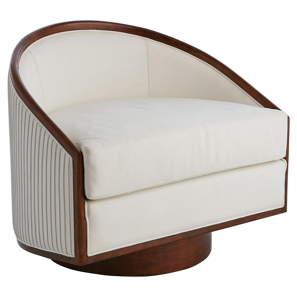 Delance modern white leather upholstered walnut wood - Modern upholstered living room chairs ...