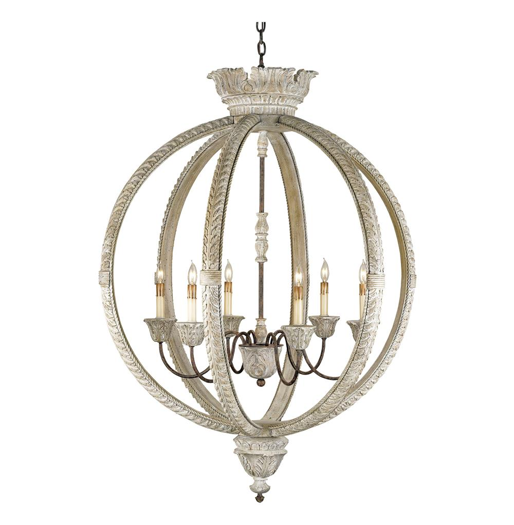 Hanging Light Round: Posay Ornate White Wash Gustavian 6 Light Round Ceiling