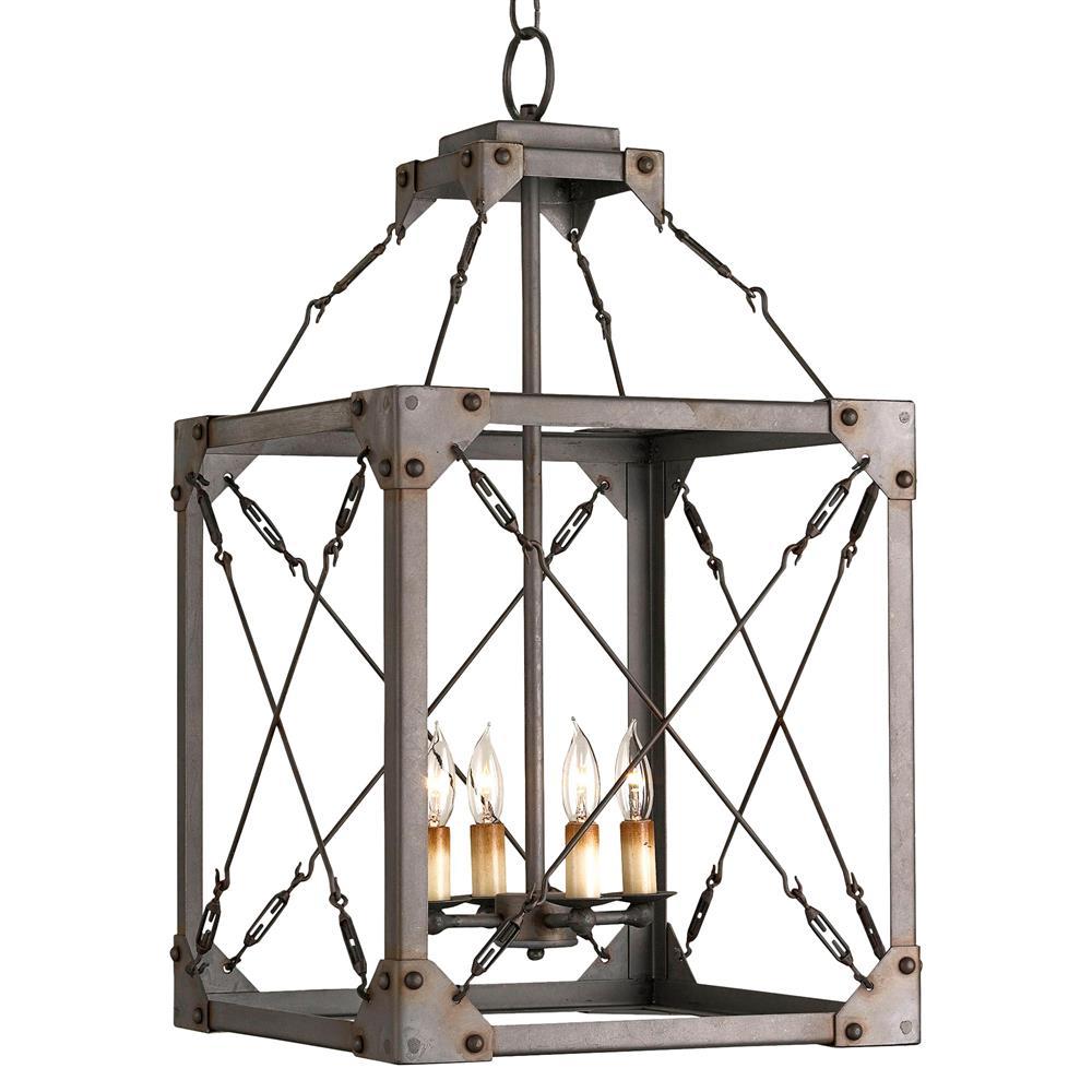 salvage metal box industrial loft lantern 4 light pendant