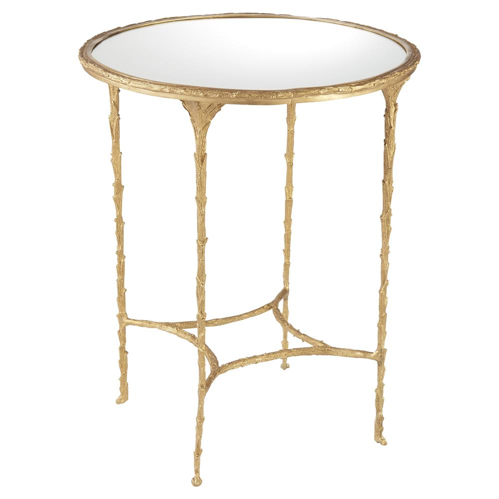 ada modern classic mirror top textured gold metal round side table. Black Bedroom Furniture Sets. Home Design Ideas