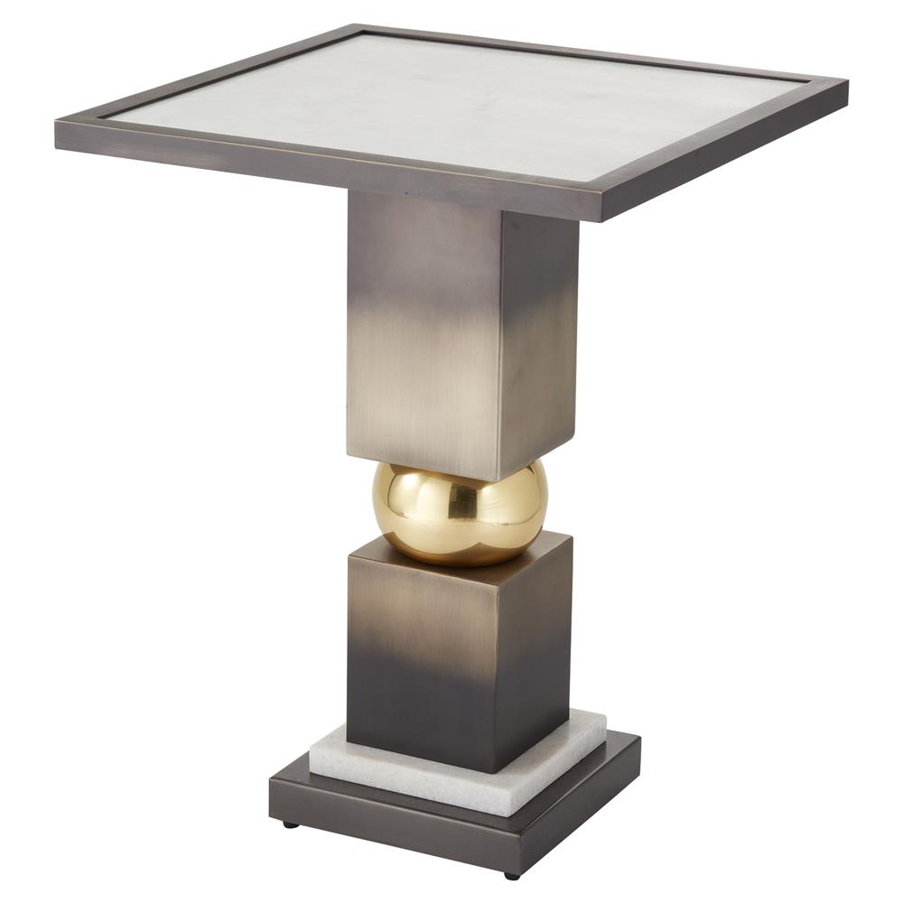 Dau0027Vonte Modern Classic Bronze Metal Pedestal Square White Marble Side Table  | Kathy Kuo