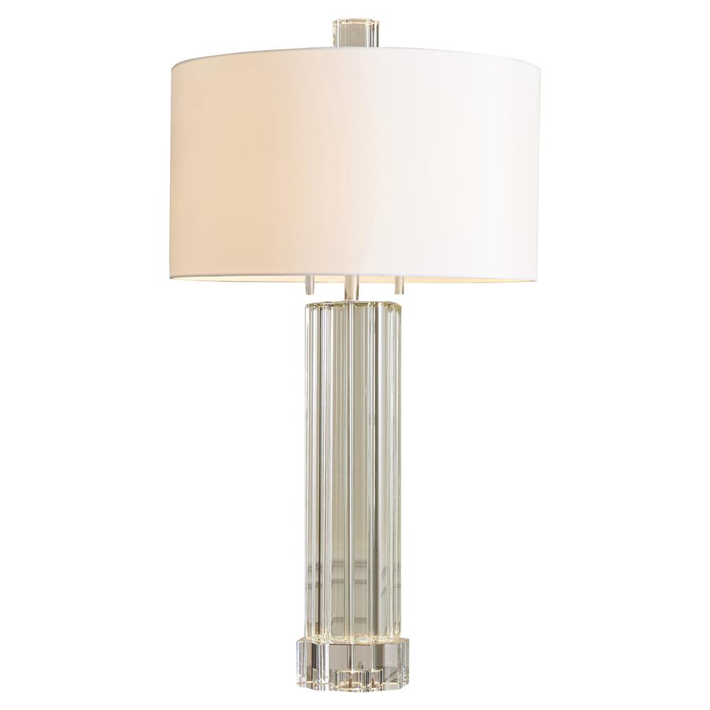 Simon Modern Round White Faux Silk Shade Fluted Crystal Table Lamp