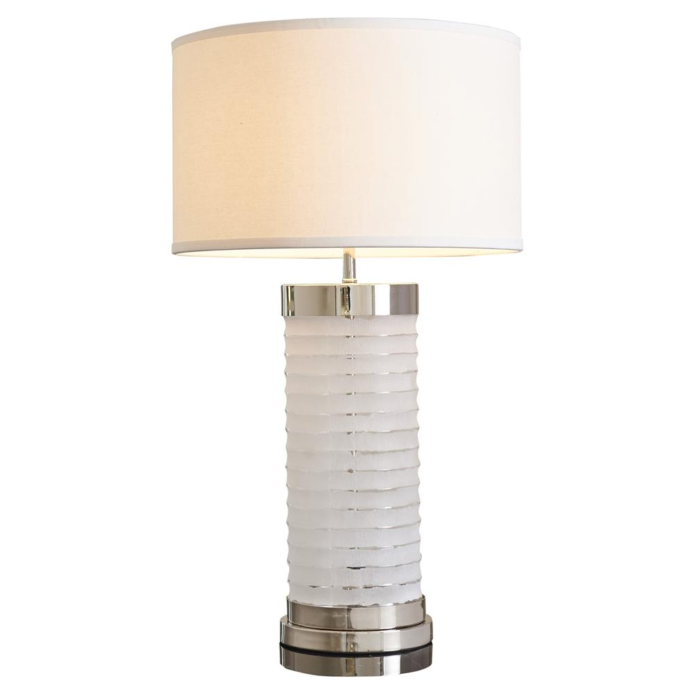 Destiny Modern Round White Linen Shade Frosted Glass Table Lamp