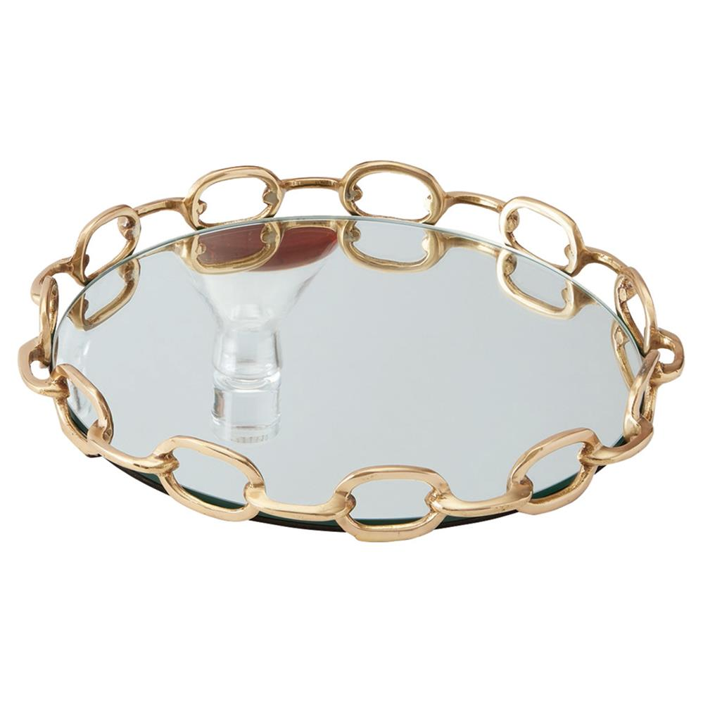 Davonté Modern Classic Round Mirror Chained Brass Metal Tray Small Kathy Kuo Home