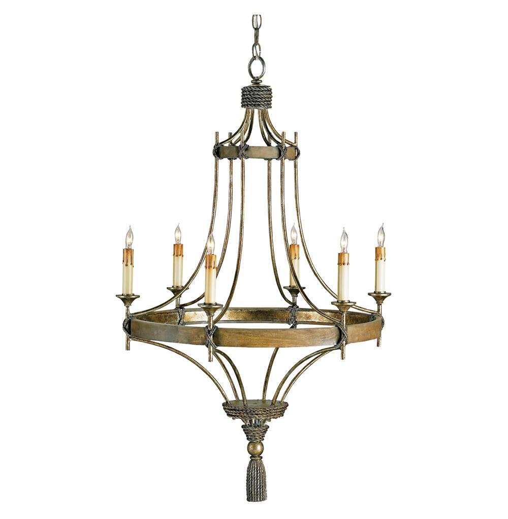Rustic bronze wrought iron 6 light chandelier kathy kuo home - Lighting and chandeliers ...