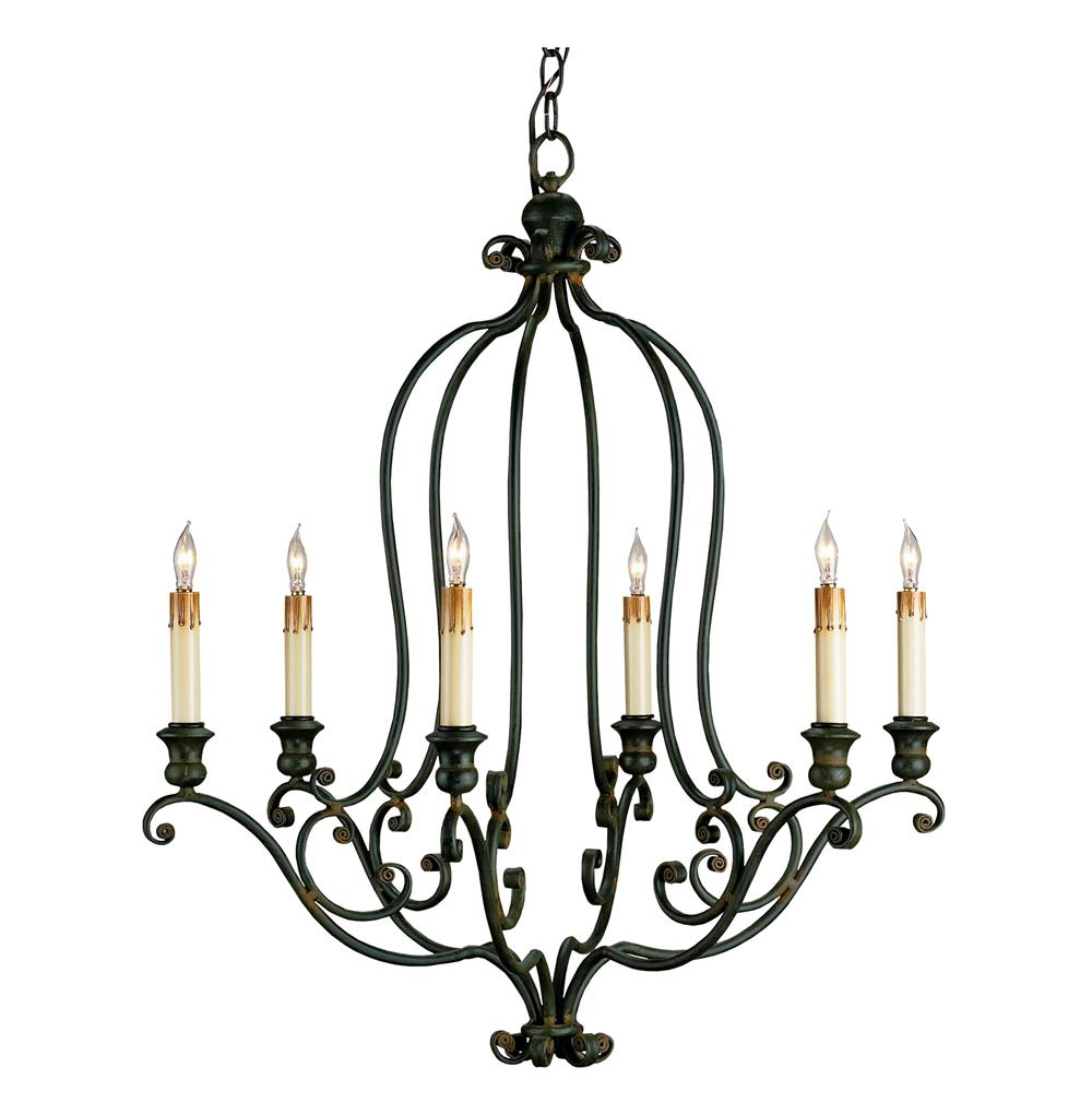 Hourglass Black Wrought Iron 6 Light Chandelier