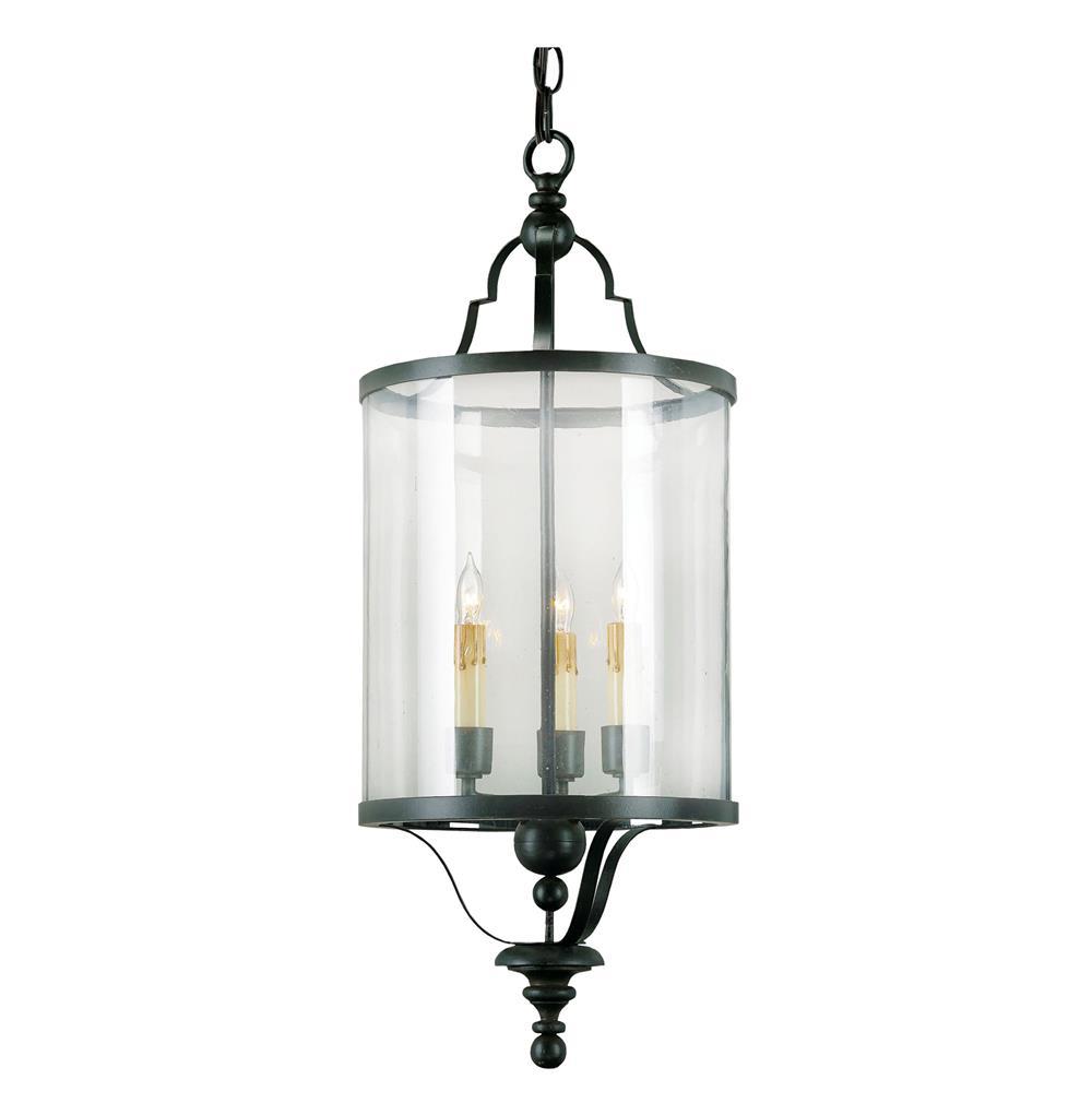 Glass Cylinder Black Wrought Iron Lantern Pendant