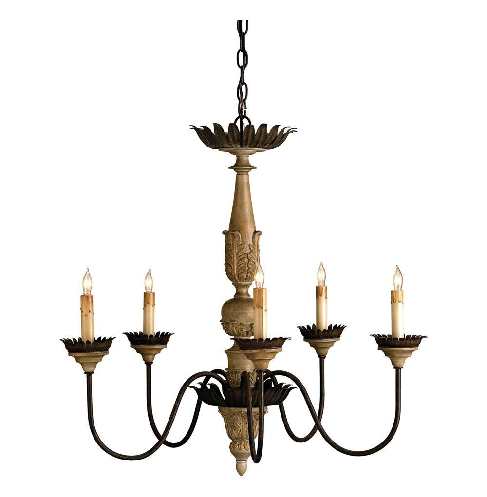 Wood And Metal Crown Chandelier
