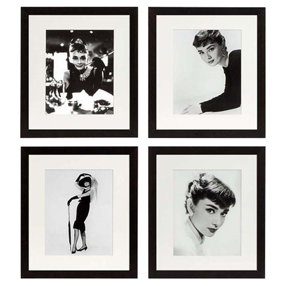Eichholtz Modern Classic Set of 4 Audrey Hepburn Framed Wall Prints