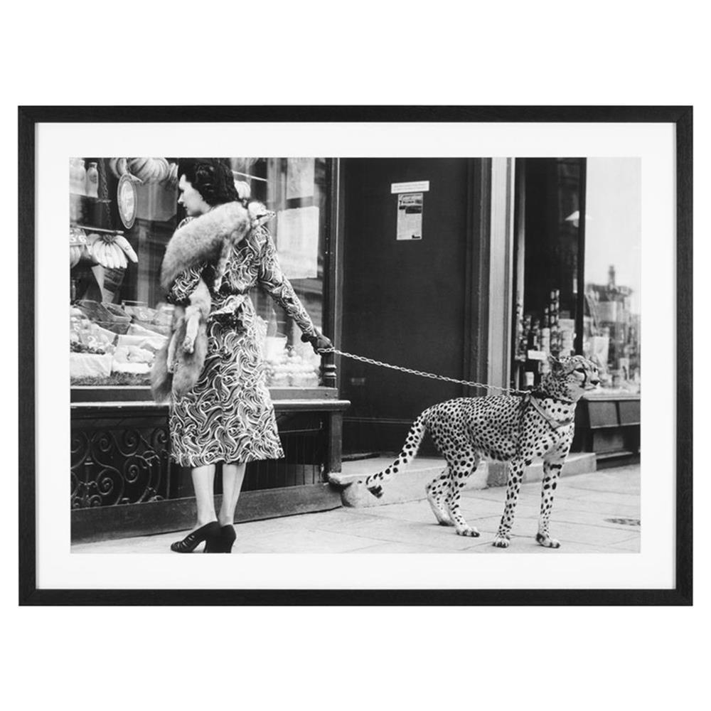 039695ff76 Eichholtz Modern Classic Elegant Woman with Cheetah Print Framed Art