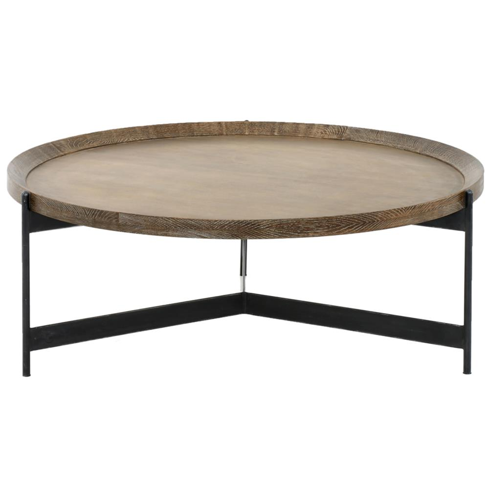 Sebastian Modern Classic Iron Round Burnt Oak Tray Style Coffee Table