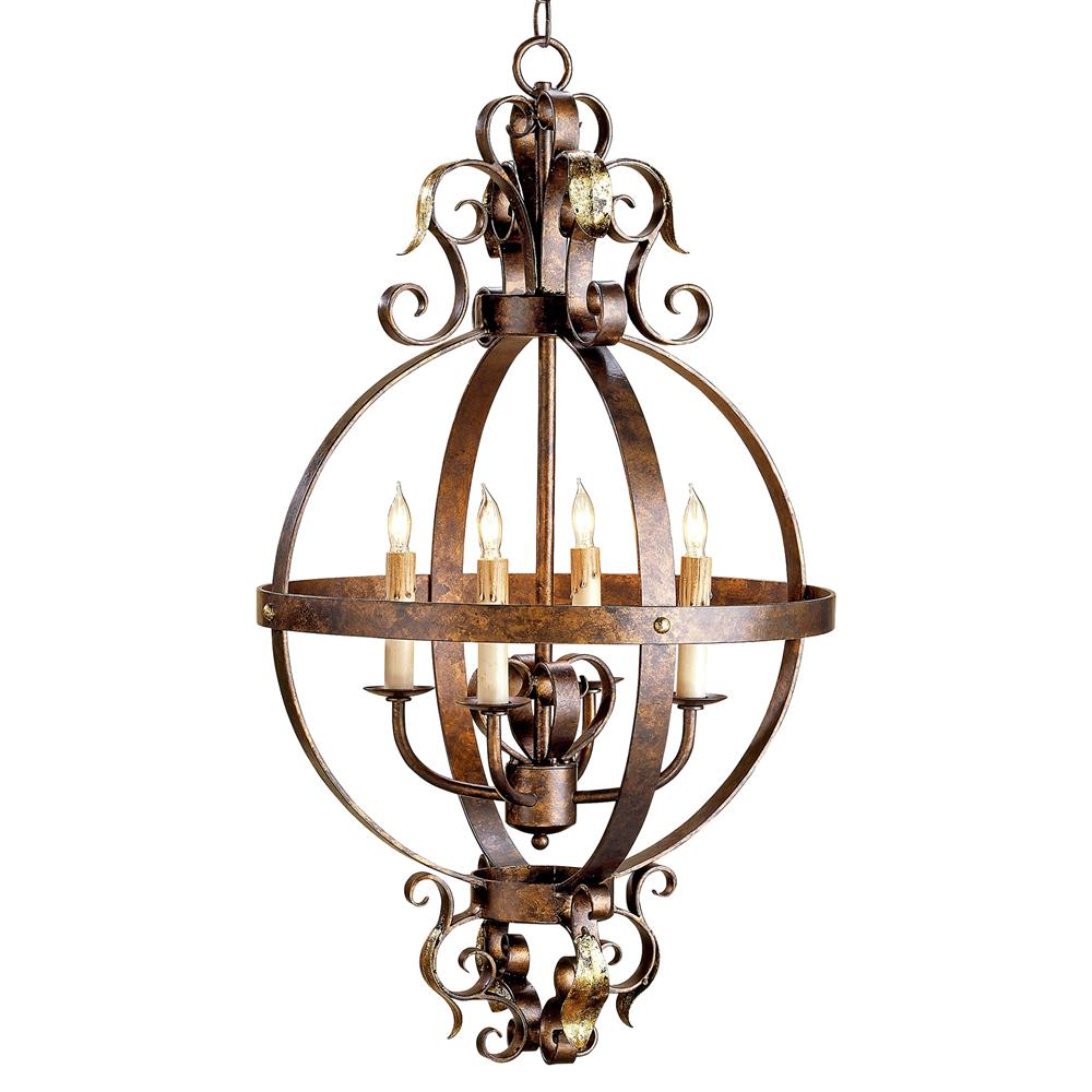 Scrolled wrought iron sphere 4 light chandelier kathy kuo home - Lighting and chandeliers ...