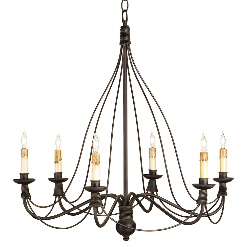 Derby Bell Curve Black Wrought Iron 6 Light Chandelier