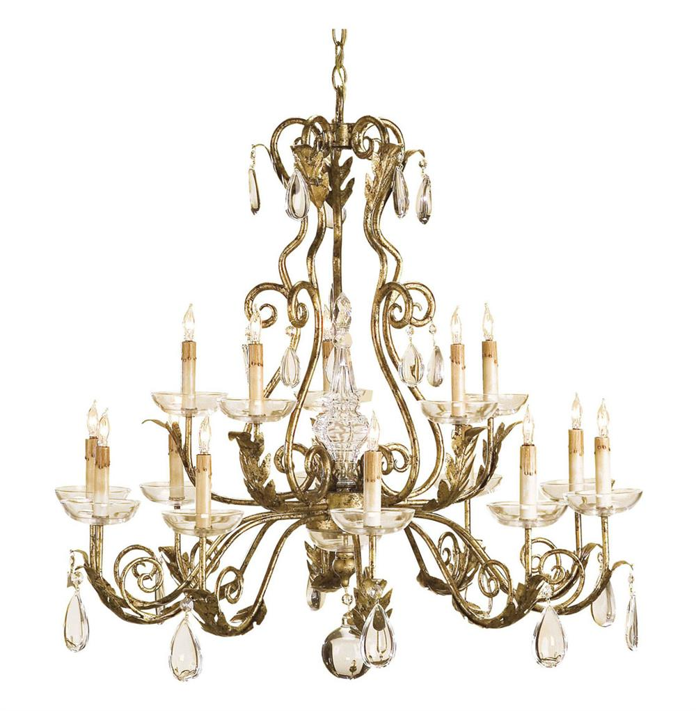 Holden gold leaf traditional crystal chandelier kathy kuo home - Traditional crystal chandeliers ...